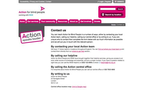 Screenshot of Contact Page actionforblindpeople.org.uk - Contact us | Action for Blind People - captured Sept. 30, 2014