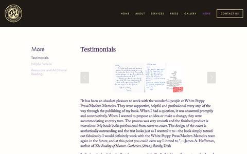 Screenshot of Testimonials Page modernmemoirs.com - Testimonials — Modern Memoirs, Inc. - captured June 12, 2017