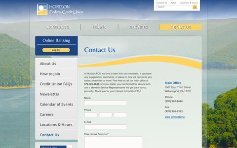 Screenshot of Contact Page horizonfcu.org - Contact Us | Horizon FCU | Williamsport, PA - Lock Haven, PA - captured Oct. 8, 2014