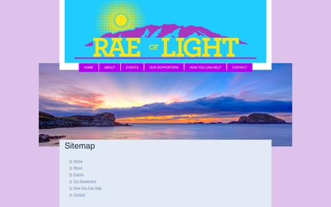 Screenshot of Site Map Page raeoflightcharity.org - Rae of Light Charity - captured Oct. 27, 2014