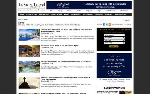 Screenshot of Press Page luxurytravelmagazine.com - Luxury Travel Magazine Breaking News and Travel Articles - captured Oct. 30, 2014