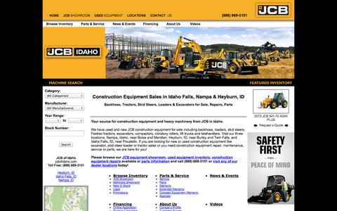 Screenshot of Site Map Page jcbofidaho.com - JCB Construction Equipment Dealer: Fastrac Tractor, Skid Steer, Backhoe Loader, Forklift & Excavator Sales, Repair, Parts Idaho Falls, Heyburn, Nampa - captured Sept. 29, 2014