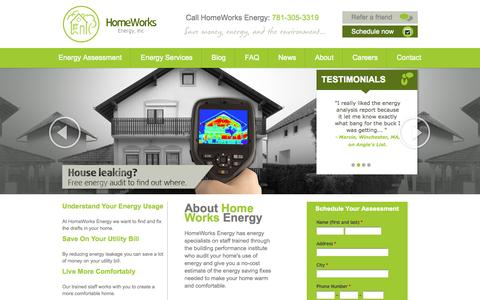 Screenshot of Home Page homeworksenergy.com - Massachusetts Home Energy Audits | Homeworks Energy - captured Jan. 27, 2015
