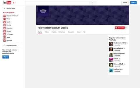 Screenshot of YouTube Page youtube.com - Forsyth Barr Stadium Videos  - YouTube - captured Oct. 25, 2014