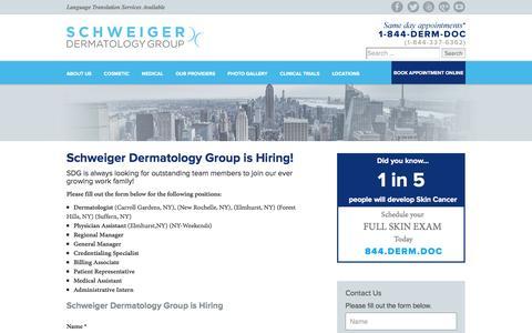 Screenshot of Jobs Page schweigerderm.com - We Are Hiring - Schweiger Dermatology - captured Jan. 31, 2016