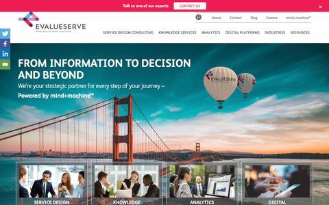 Screenshot of Home Page evalueserve.com - Powered by mind+machine - Evalueserve - captured July 21, 2019