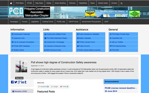 Screenshot of Home Page pcametro.ph - PCA Metropolitan Chapter - captured Sept. 19, 2014