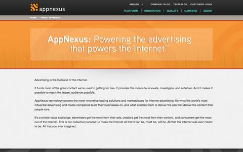 Screenshot of About Page appnexus.com - About AppNexus | AppNexus - captured Oct. 29, 2014