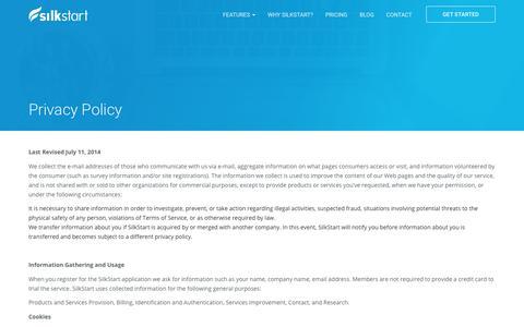 Screenshot of Privacy Page silkstart.com - Privacy Policy - Association Management Software | SilkStart - captured Aug. 18, 2017
