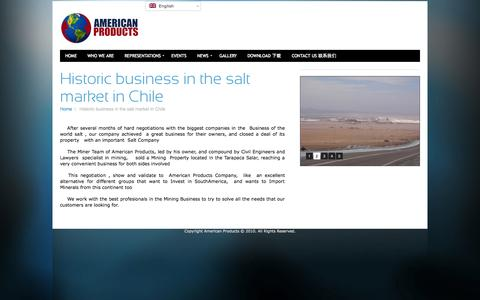 Screenshot of Press Page americanproducts.cl - American Products – Historic business in the salt market in Chile - captured Oct. 4, 2014