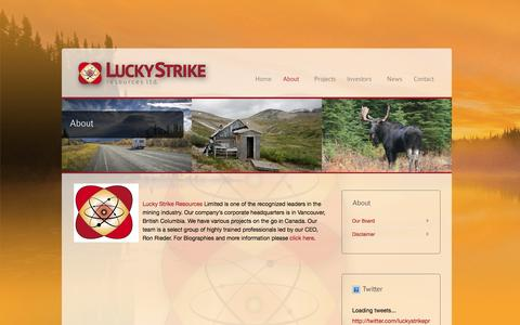 Screenshot of About Page luckystrikeresources.com - About - Lucky Strike Resources - captured Oct. 3, 2014