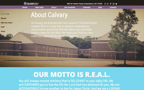 Screenshot of About Page calvary-cc.org - About | Calvar Christan Center - captured Sept. 26, 2018