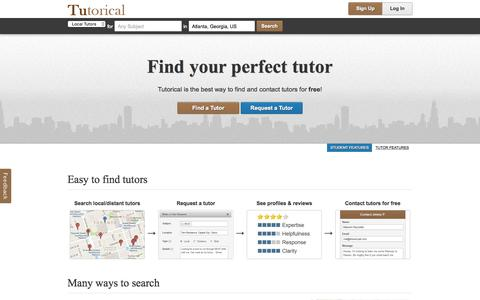 Screenshot of Home Page tutorical.com - Tutorical | Find your perfect tutor - captured Aug. 31, 2015