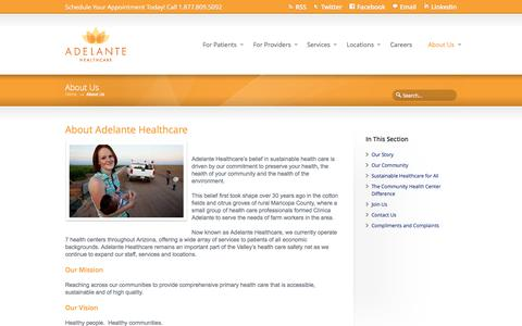 Screenshot of About Page adelantehealthcare.com - About Us | Adelante Healthcare - captured Sept. 30, 2014