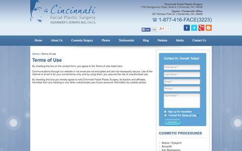 Screenshot of Terms Page cincyfacialplastics.com - Terms of Use - captured Oct. 2, 2014