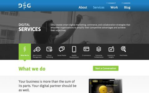 Screenshot of Services Page degdigital.com - What We Do | DEG - captured Sept. 23, 2014