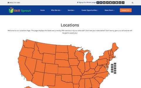 Screenshot of Locations Page skillsprout.com - Locations » Contact Us | Skill Sprout - captured Feb. 22, 2016