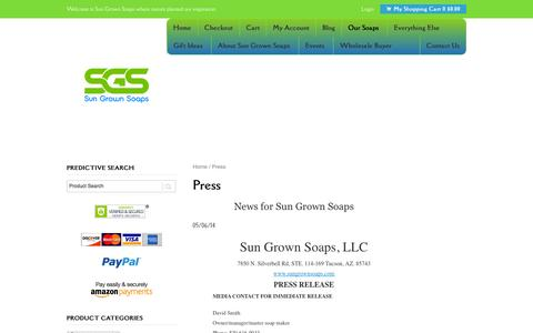 Screenshot of Press Page sungrownsoaps.com - Press - Sun Grown Soaps - captured Nov. 4, 2014