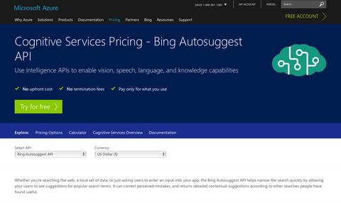 Screenshot of Pricing Page microsoft.com - Pricing - Bing Autosuggest API | Microsoft Azure - captured Jan. 5, 2017