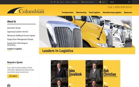 Screenshot of Team Page columbianlogistics.com - Leaders In Logistics   Columbian Logistics Network - captured Nov. 9, 2016