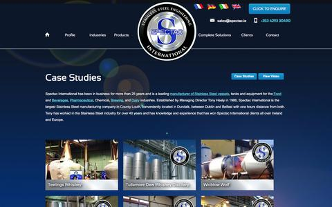 Screenshot of Case Studies Page spectac.ie - Stainless Steel Vessels, Tanks & Equipment - Case Studies - captured Feb. 15, 2016