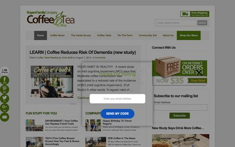 Screenshot of Home Page rogersfamilyco.com - The Best Gourmet Coffee From a Family Coffee Company  : Rogers Family Coffee - captured Oct. 21, 2015