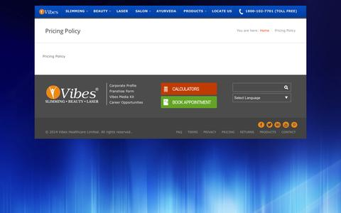 Screenshot of Pricing Page vibes.in - Pricing Policy - Vibes Healthcare - captured Feb. 17, 2016