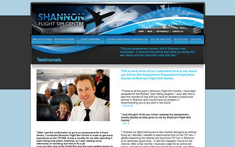Screenshot of Testimonials Page shannonflightsimcentre.com - Boeing 737-800 NG Flight Simulator Shannon :: Testimonials page - captured Sept. 30, 2014