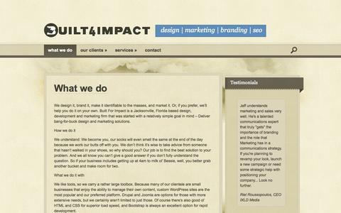 Screenshot of Home Page built4impact.com - | Built For Impact - captured Sept. 17, 2015