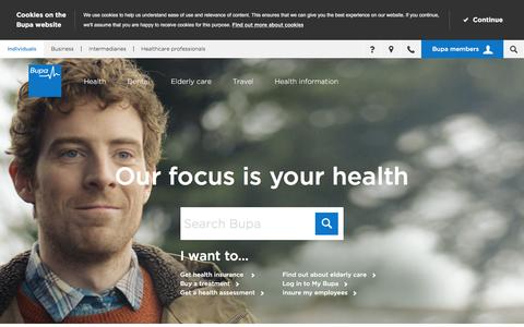 Screenshot of Home Page bupa.co.uk - Private Health Insurance, Individual, Group, Family Healthcare | Bupa UK - captured Jan. 14, 2016