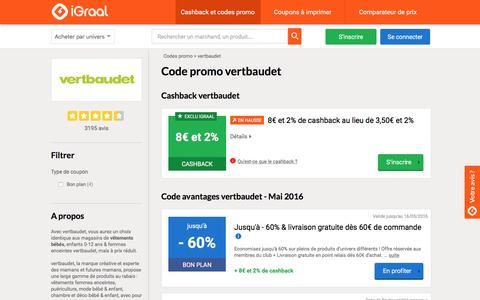 Code promo & Cashback vertbaudet en Mai 2016