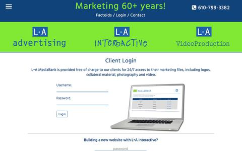 Screenshot of Login Page l-aadvertising.com - L•A Advertising, L•A Interactive & L•A Video Production | Lehigh Valley, Pennsylvania | Client Login - captured Dec. 19, 2017