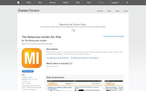 Screenshot of iOS App Page apple.com - The Malaysian Insider for iPad on the App Store on iTunes - captured Oct. 26, 2014