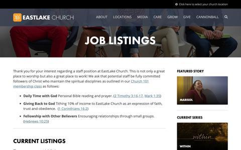 Screenshot of Jobs Page eastlakechurch.com - Jobs Archive | EastLake Church - captured Nov. 4, 2018