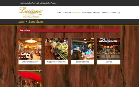 Screenshot of Locations Page lucianorestaurants.com - Locations | Luciano Restaurants - captured Sept. 30, 2014