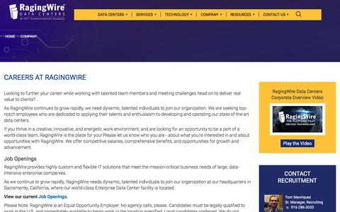 Screenshot of Jobs Page ragingwire.com - Careers at RagingWire | RagingWire Data Centers - captured April 24, 2018