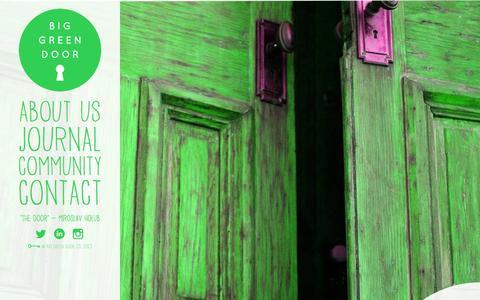 Screenshot of Home Page biggreendoor.com - Big Green Door | Creative Brand Strategy Consultancy - captured Jan. 2, 2016