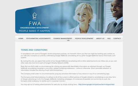 Screenshot of Terms Page fwa.co.za - Terms & Conditions | FWA Organisational Development - captured Aug. 3, 2016