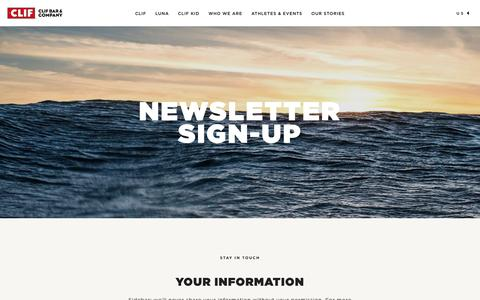 Screenshot of Signup Page clifbar.com - Newsletter Sign-up - captured Dec. 17, 2016