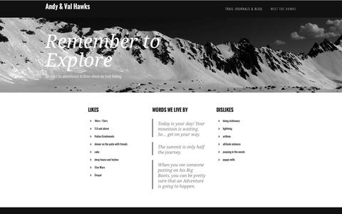 Screenshot of About Page andyandval.com - Remember to Explore | Andy & Val Hawks - captured June 14, 2016