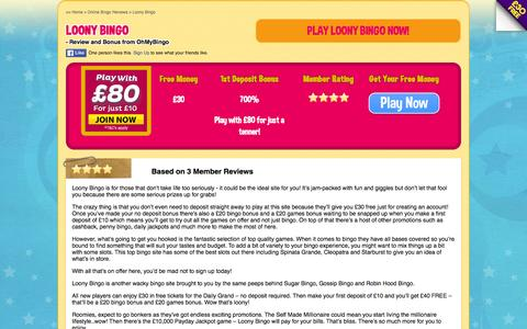 Screenshot of ohmybingo.com - Loony Bingo | Play with £80 for just a tenner - captured March 19, 2016