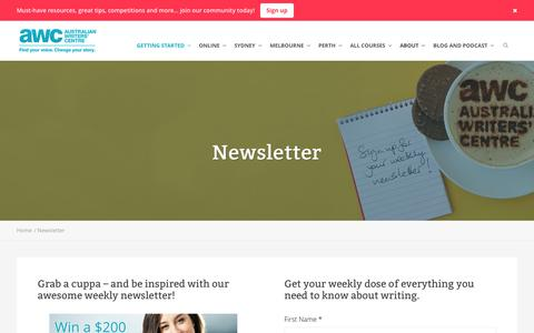 Screenshot of Signup Page writerscentre.com.au - Newsletter - Australian Writers' Centre - captured Sept. 12, 2016