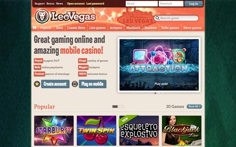 Screenshot of Home Page leovegas.com - Mobile casino and online casino - Play casino games in your mobile and online   Leo Vegas Casino - captured Sept. 18, 2014