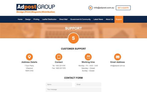 Screenshot of Support Page adpost.com.au - Seeking customer support to avail printingservices. Contact us - captured April 11, 2017
