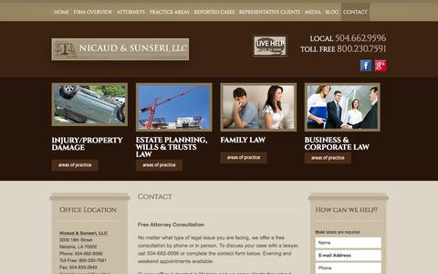 Screenshot of Contact Page nslawla.com - Contact | Nicaud & Sunseri | Metairie Louisiana - captured Oct. 26, 2014