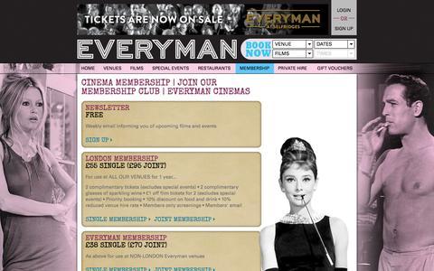 Screenshot of Signup Page everymancinema.com - Cinema Membership | Join Our Membership Club | Everyman Cinemas - captured Sept. 19, 2014