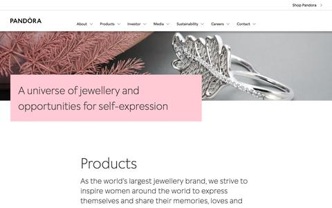 Screenshot of Products Page pandoragroup.com - Products - captured Sept. 1, 2019