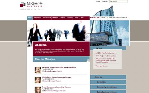 Screenshot of Team Page mcquarrie.com - Meet our Managers - McQuarrie Hunter LLP - captured Feb. 12, 2016