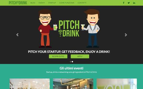Screenshot of Home Page pitchndrink.com - Pitch & Drink - captured Jan. 27, 2015