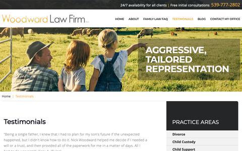 Screenshot of Testimonials Page wtlawok.com - Client Testimonials | Woodward Law Firm PLLC | Tulsa, Oklahoma - captured Oct. 18, 2018
